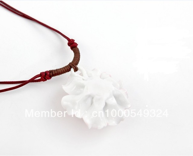 Jingdezhen, high white porcelain, handmade ceramic jewelry, red and purple color, fashion, female, necklace, pendant