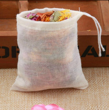 50pcs/lot NEW Cotton Drawstring Strainer Tea Spice Food Separate Filter Bag For Drinking Tea Tools 6*8cm