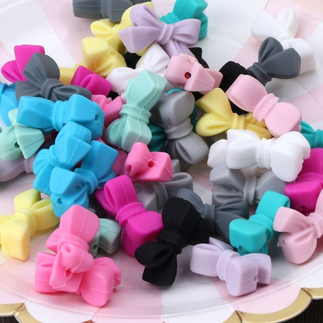 5pcs Mini Silicone Bow Small Tie Beads For Teething Holes DIY Beads BPA Free Silicone Beads Baby Teether Feb-15