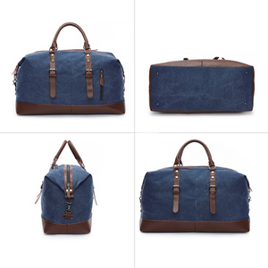Image 3 - Scione Canvas Leather Men Travel Bags Carry on Luggage Bag Men Duffel Bags Travel Tote Large Weekend Bag Overnight Male Handbag
