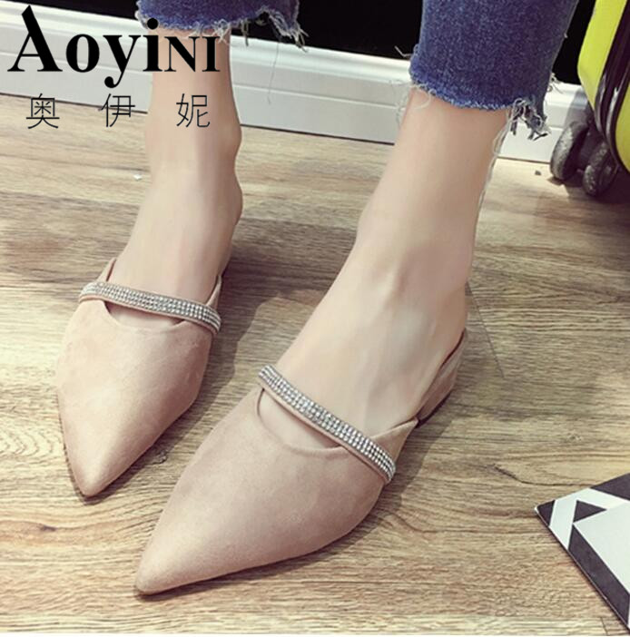 Женская обувь на низком каблуке женские шлепанцы острый носок квадратный каблук Шлёпанцы обувь известного бренда шлепанцы повседневная же...