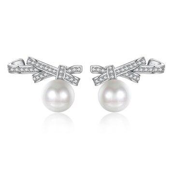 8d380918c98d S925 arco de Plata Perla pendientes señora hermosa pendientes aretes de mujer  modernos 2018
