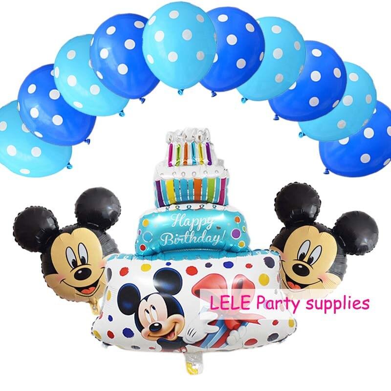 13 Pcslot Minnie Mickey Birthday Cake Foil Balloons Star Heart