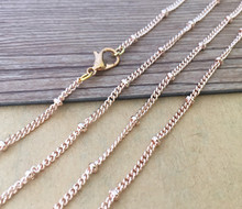 цена на 100pcs/lot  shallow rose gold 27 inche bead chain with lobster clasp 3mm