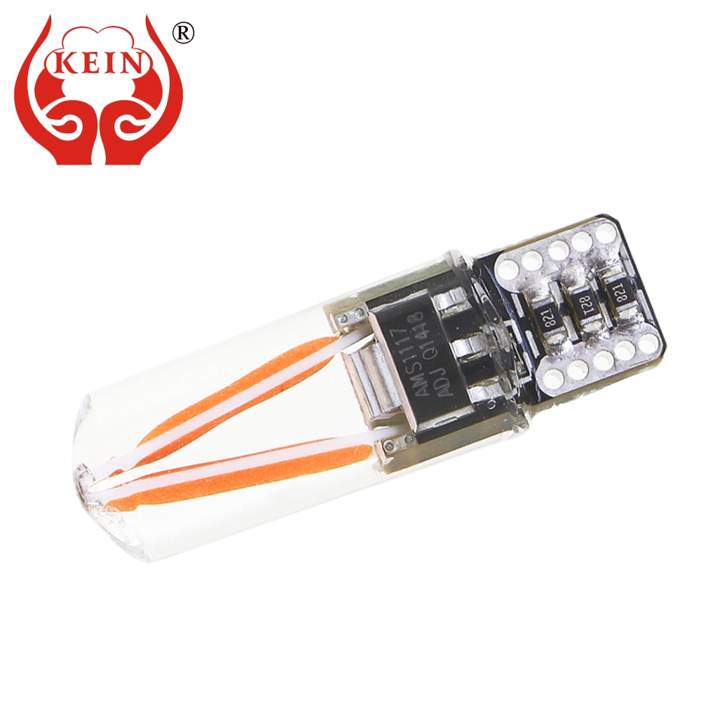 KEIN Canbus Error Free T10 LED w5w 194 car silicone COB light Filament Side Wedge Signal Lamp Interior Trunk Bulb 12V for toyota 10pcs led car interior bulb canbus error free t10 white 5730 8smd led 12v car side wedge light white lamp auto bulb car styling