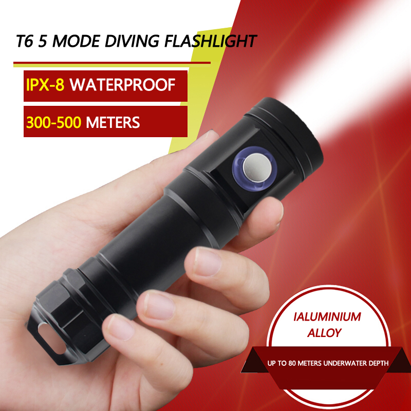 T6 LED Zoomable Flashlight Torch Super Bright Diving Flashlight Torch Light