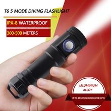 IPX8 Waterproof 5 Modes Mini Diving Flashlight T6 LED Shock Resistant Lamp Torch convenient Light