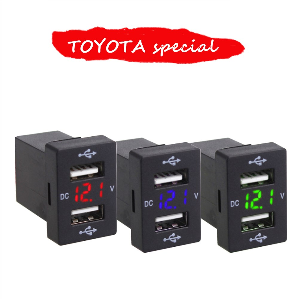 Voltage early-warning 3.1A 2 USB Interface Socket Charger Adapter For TOYOTA DC Power Inverter Converter Charge iPhone Mobile