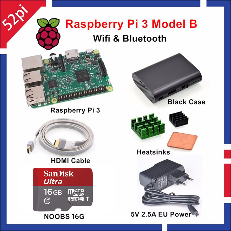 ФОТО Raspberry Pi 3 Model B Starter Kit with 5V 2.5A EU/UK/US/AU Power Supply 16GB NOOBS ABS Black Case HDMI Cable Heatsinks