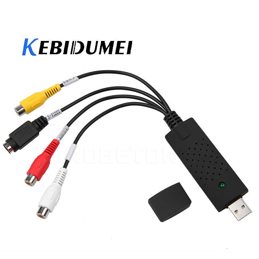 Kebidumei USB 2.0 Mudah untuk Cap TV Video DVD VHS DVR Menangkap Adaptor Lebih Mudah Cap USB Video Capture Perangkat Dukungan win10