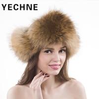 Women's Winter Hat Fur Hats Women Russian Bomber Hat Raccoon Winter Fur Caps Warm Skullies Beanies Cap Russian Female Hat