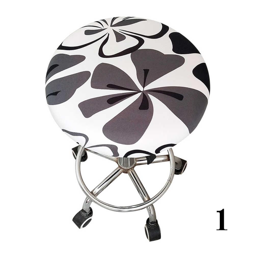 Полиэфирное покрытие для барного стула, эластичное покрытие для офисных встреч, круглое кресло, четыре сезона, украшение, цветочный принт, мягкое сиденье для дома