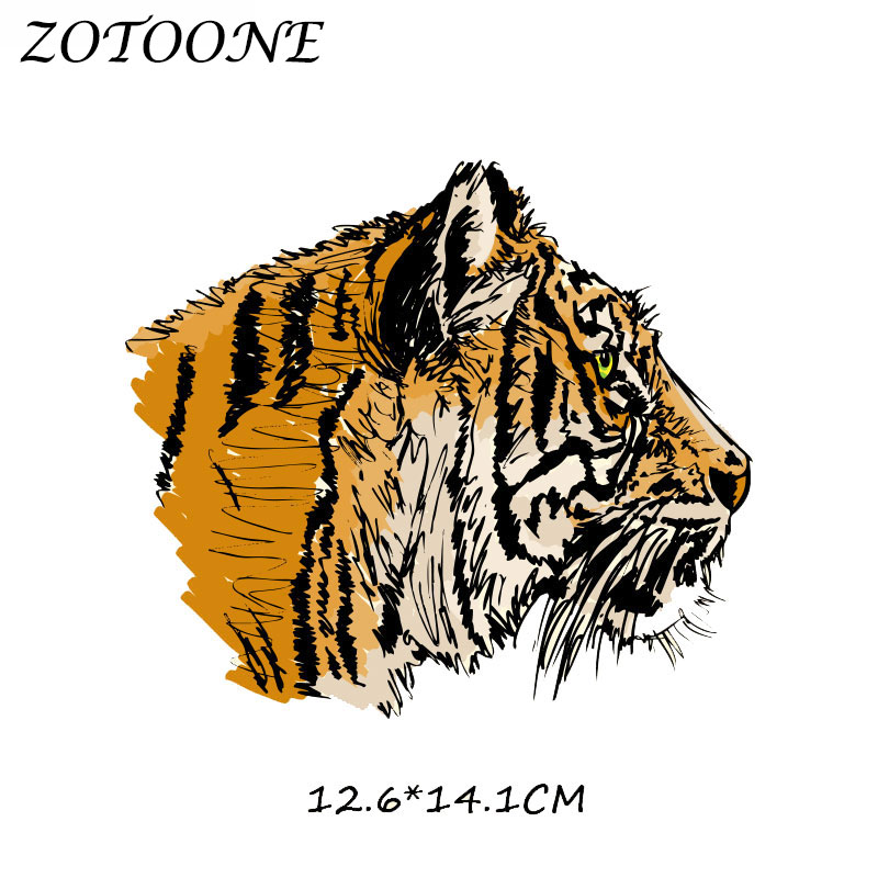 ZOTOONE Patches for Clothing Tiger Patch Heat Transfer DIY Accessory Decoration Iron on Patches Beaded Applique Clothes T Shirt