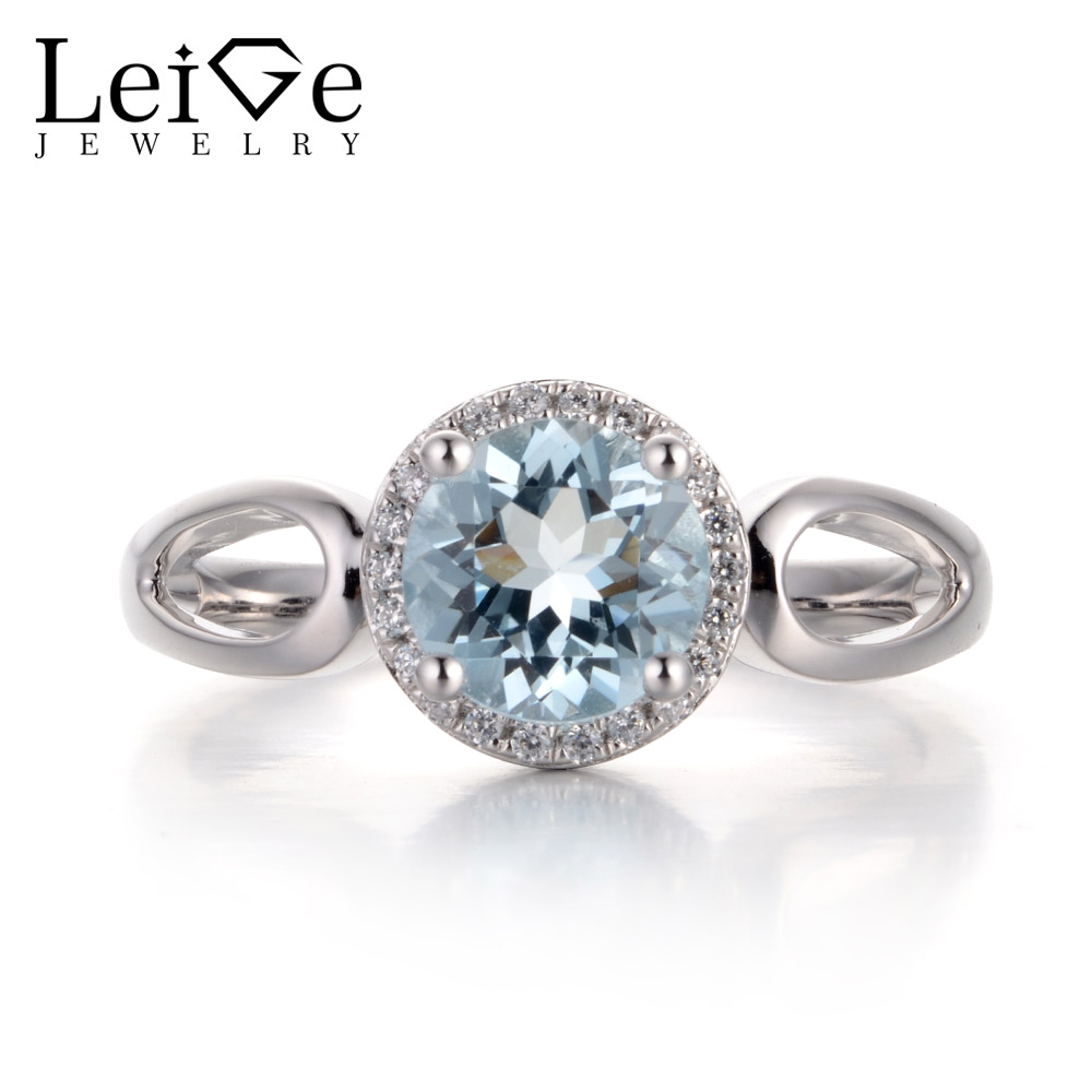 Leige Jewelry Natural Aquamarine Light Blue Color Gemstone Round Cut Prong Setting Halo Rings Romantic Gift For Woman 925 Silver