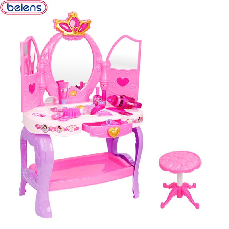 Beiens Doll Furniture Make Child 19 Pcs Doll Furniture Girl's Cute Lovely Toy Fashion Makeup Chair Make Up Table Set Dresser mini dresser make up tank mirror small dresser