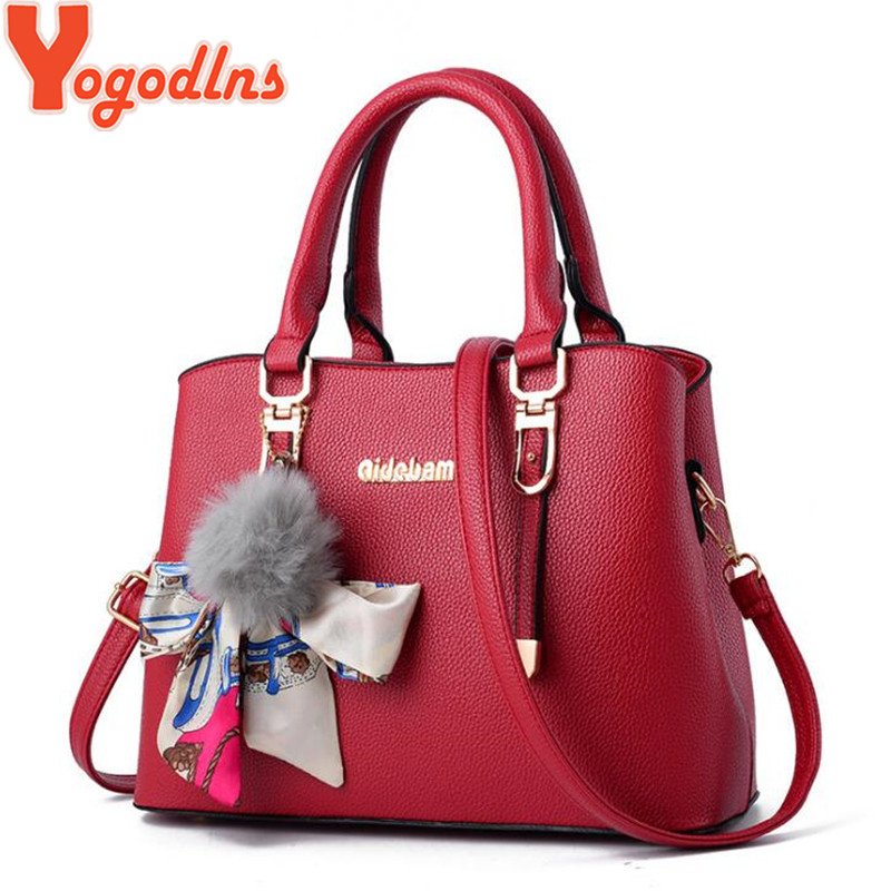 Yogodlns New Elegant Women Shoulder Bag Medium Handbag For Lady Messenger Bags Fur Ball Ribbon Bow Decor Female Crossbody Bags