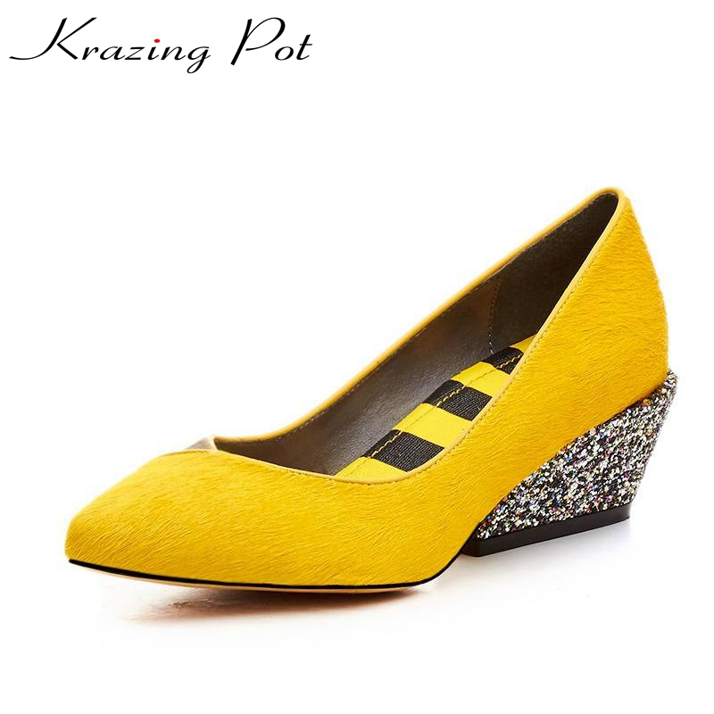 Krazing Pot New fashion brand shoes mixed color high heel slip on women pumps pointed toe horsehair luxury party causal shoe L17 fashion women ladies pumps solid color spring summer pointed toe thin heel shoes new arrival high quality brand slip on pumps