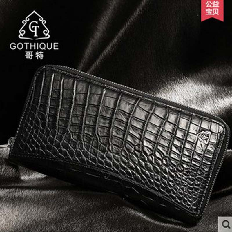 gete 2017 new hot free shipping import Thailand crocodile belly skin men wallet male long fashion zipper bag high-capacity male maibomengnuo authentic crocodile skin wallet belly belly fashionable contracted men thin money clip upright money