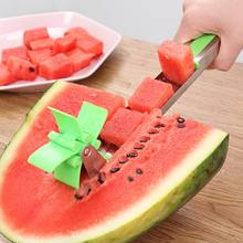 Stainless Steel Fruit Watermelon Knife Slicer Stainless Steel Windmill Cutting Spoon Corers Knife Fruit Salad Kitchen Tools stainless steel watermelon slicer knife fruit cuter