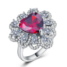 Diamond rings ruby ring Crystal opal Costume jewelry Lady Heart-shaped zircon plated 925 silver flower Cubic zirconia B1175