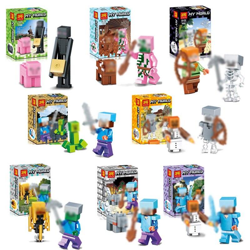 8 set/lot Steve Minecraft Juguetes modelo Mini juego Juguetes figuras de acción seguro ABS regalos de Juguetes de peluche para los Niños # E