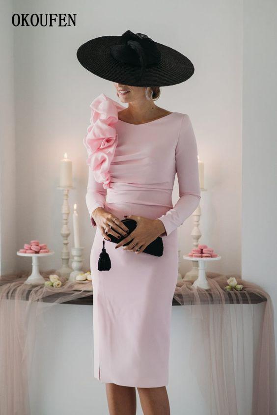 Pink Short Mother Of The Bride Dresses 2019 Long Sleeves Pencil Skirt Sheath Vestido De Madrinha Farsali Weddding Party Gowns