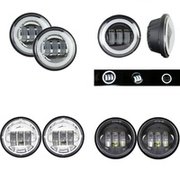 1 Pair 4.5 4 1/2 inch LED Motorcycle Chrome Black Fog Passing Light for Jeep Harley Davidson Classic FLHR Road King