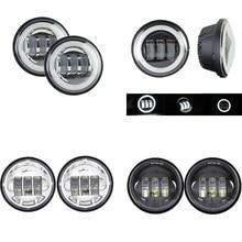 1 Pair 4.5 4 1/2 pollici A LED Moto Chrome Nebbia Nera Che Passa Luce per Jeep Harley Davidson Classico FLHR Road re