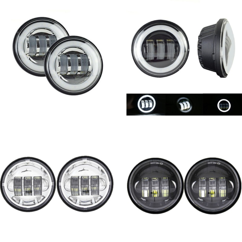 1 Pair 4 5        4 1 2 inch Motorcycle Chrome Black LED Fog Passing Auxiliary Light for Classic FLHR Road King 4 5Inch LED Fog Light