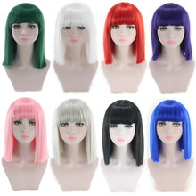 цена на 14inch Straight Black White Pink Red Blue Short Bob Wigs For Women Synthetic Hair Anime Cosplay Party Wig With Bangs 8 Colors