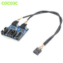 9Pin USB header to Quad 9P Female Extension Cable Desktop Motherboard 9-pin 1 to 4 Port multiplier Card HUB Adapter