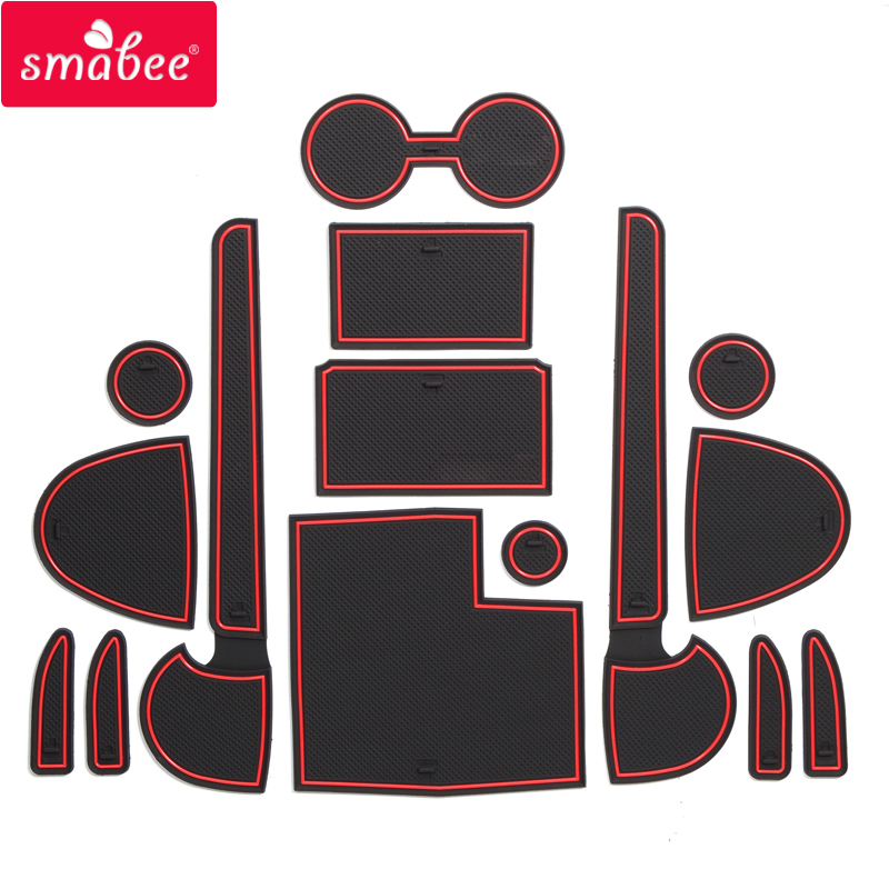 Smabee Gate Slot Pad For MITSUBISHI TRITON L200  2015 - 2018 4DR 2016 2017 Interior Door Pad Cup Holders Non-slip Mats 15pcs