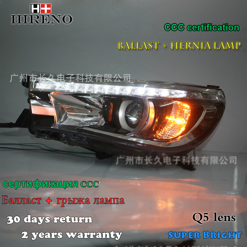 Hireno Headlamp for 2016 2017 Toyota Hilux Headlight Assembly LED DRL Angel Lens Double Beam HID Xenon 2pcs 2pcs purple blue red green led demon eyes for bixenon projector lens hella5 q5 2 5inch and 3 0inch headlight angel devil demon