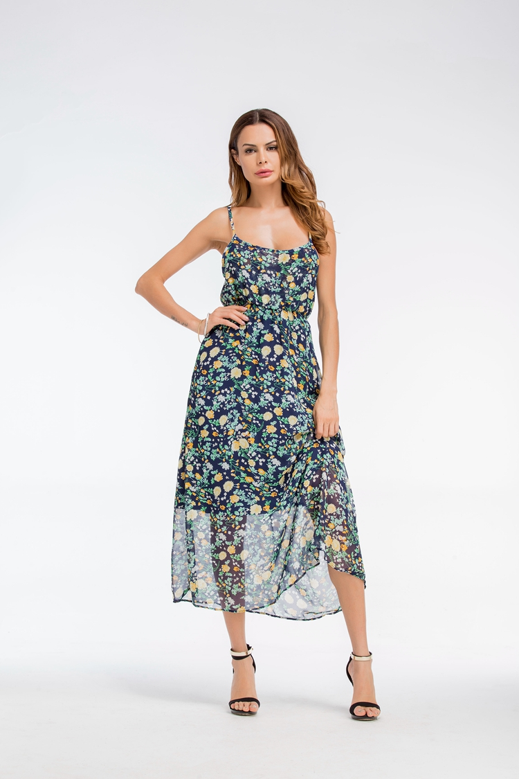 bf93a0752d0 2019 Benuynffy Floral Spaghetti Strap Dresses For Women Sundress ...