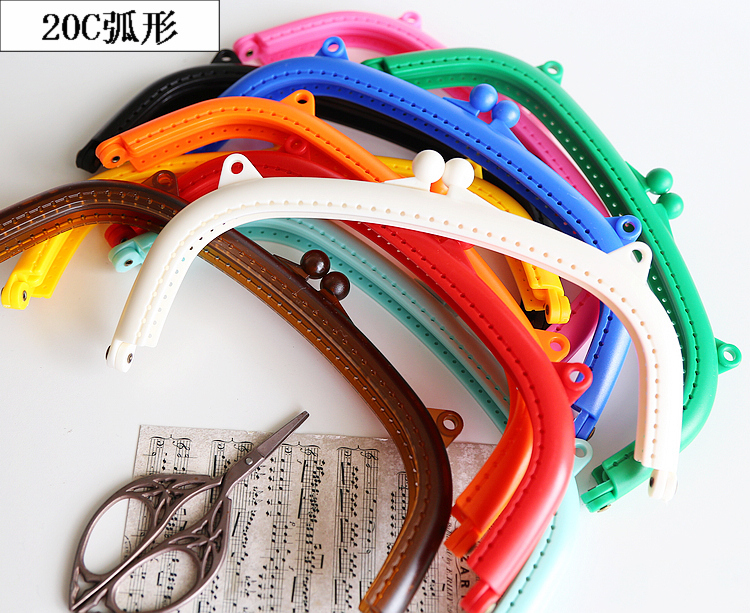 20cm Colorful DIY Girl Purse Resin Frame Clasp 3pcs/lot Bag Accessories Mouth Golden