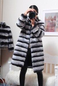 Image 4 - OFTBUY Chaqueta de invierno de lujo para mujer, abrigo de piel Real, prendas de vestir de piel de conejo Rex Natural a rayas gruesas y cálidas con cuello levantado, ropa de calle 2020
