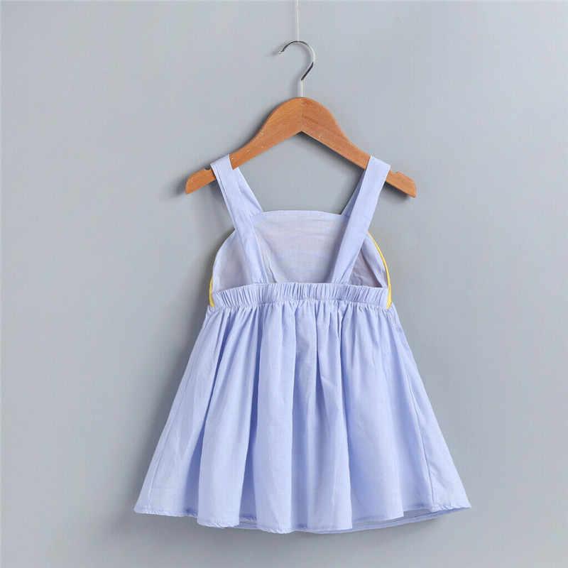 ילדים חדשים תינוקת קיץ קשת קלע שמלה ללא שרוולים מסיבת חוף שמלות בגדי ילדים שמלות בנות כותנה O-צוואר