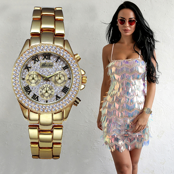 MISSFOX Women´s 18K Gold Ladies Luxury Fashion Chronograph Roman Quartz WristWatches 4