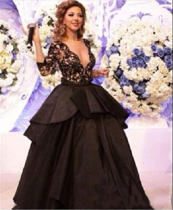 Hot Sales Free Shipping 2015 myriam fares dress real picture Three Quarter sleeve Ball gown Black V-neck celebrity dresses ZY144