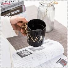 1 قطع الذهب الإبداعي مقبض السيراميك كأس مقص شخصية القدح مكتب كوب ماء الكلاسيكية القهوة القدح كأس القهوة المنزل 5DZ258