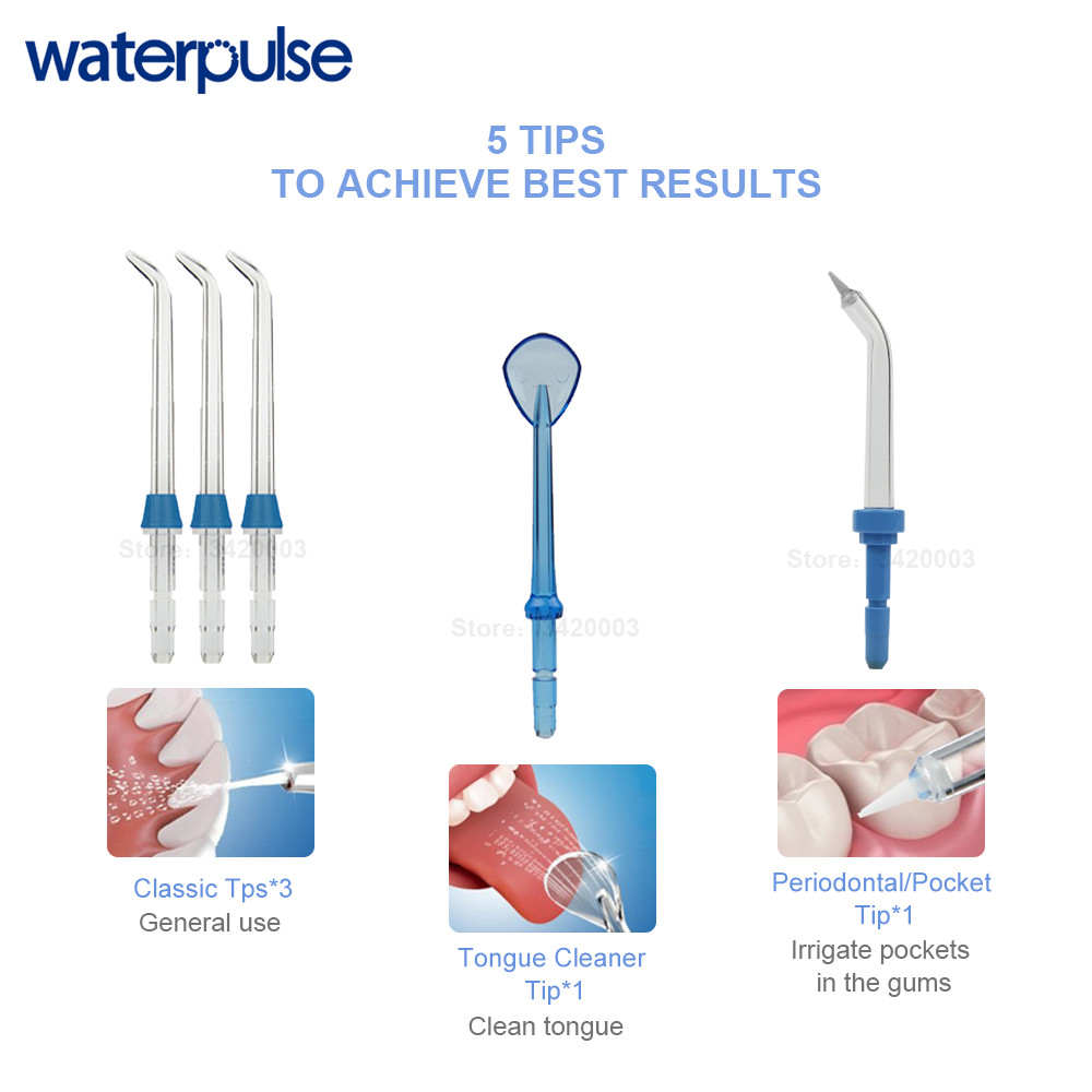 Waterpulse V300G Oral Irrigator 5pcs Tips Dental Water Flosser Electric Cleaner 800ml Oral Hygiene Dental Flosser Water Flossing 5
