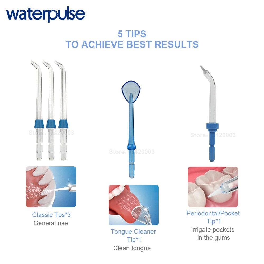 Waterpulse V300G Irrigateur Oral 5 pièces Conseils Dentaire Flosser D'eau Fil 800 ml Hygiène Buccale Dentaire Flosser D'eau Flossing V300 - 5