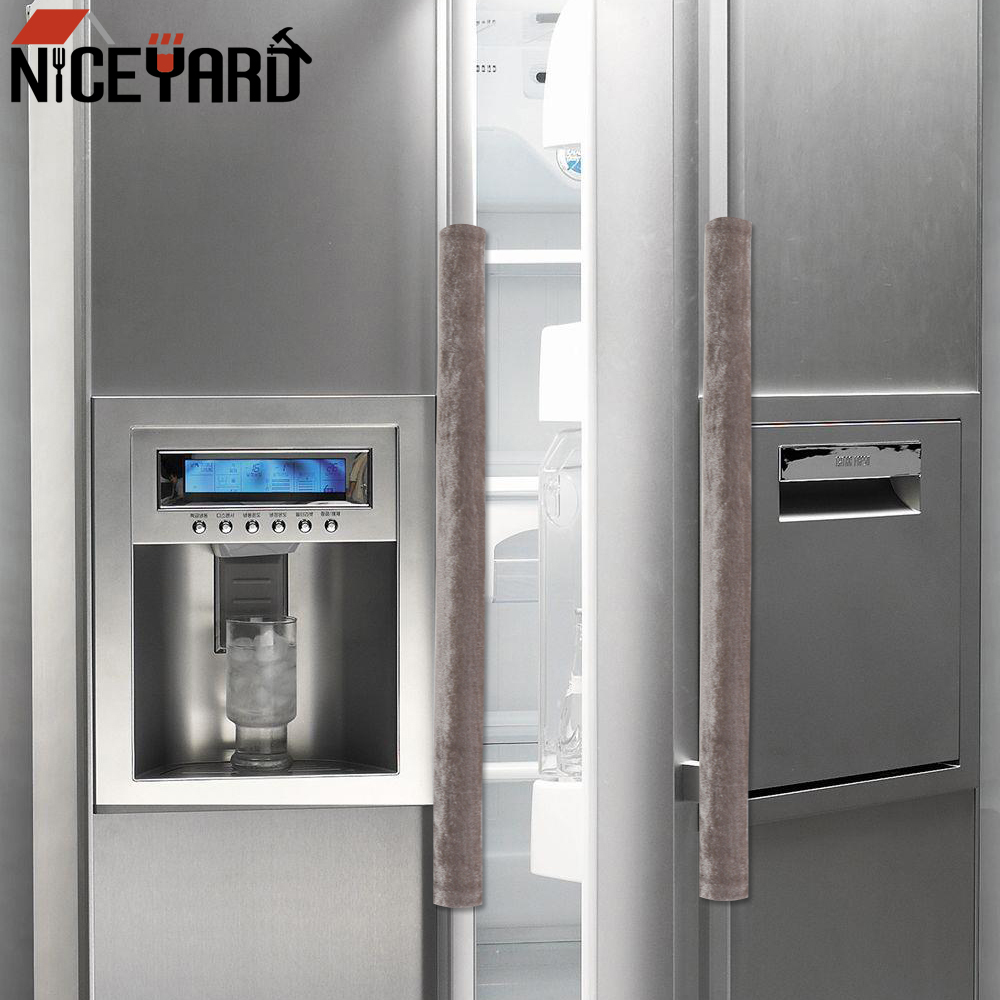 NICEYARD 2Pcs Double Side Refrigerator Door Handle Cover Microwave Oven Fridge Door Knob Flannel Protector Kitchen Decoration