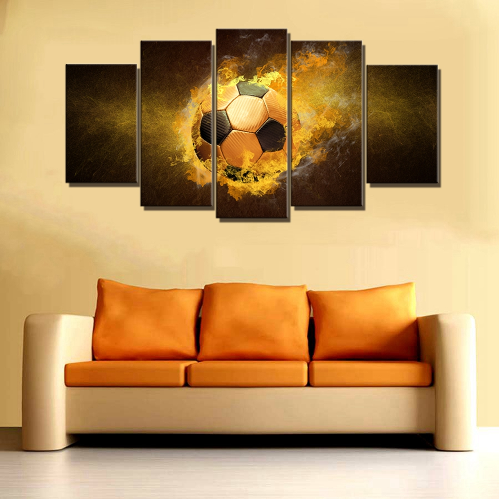 Golden Fire Soccer Wall Art Canvas Print Picture Painting for Kids ...