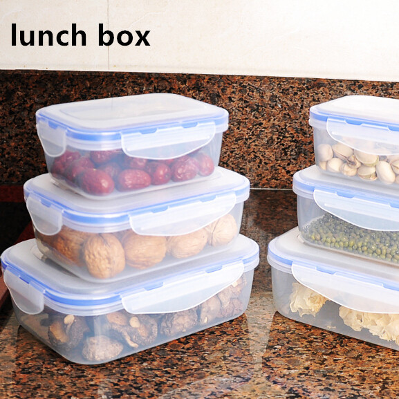 1 Pieces Plastic Lunch Box Portable Bowl Food Container Lunchbox 380/650/1100ml Eco-Friendly For Kitchen Accessories