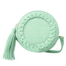Модная круглая женская сумка с кисточками тканые сумки через плечо для женщин s сумка на плечо Женская милая вязаная круговая женская сумка-мессенджер