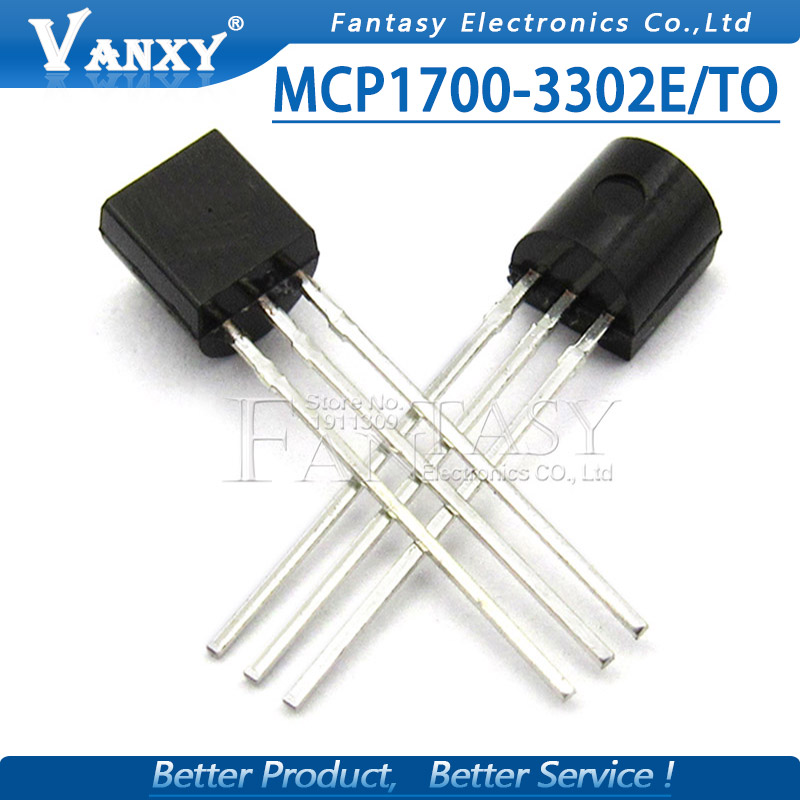 10PCS MCP1700-3302E/TO TO-92 MCP1700 1700-3302E TO92 MCP1700-3302E Fixed LDO Voltage Regulator