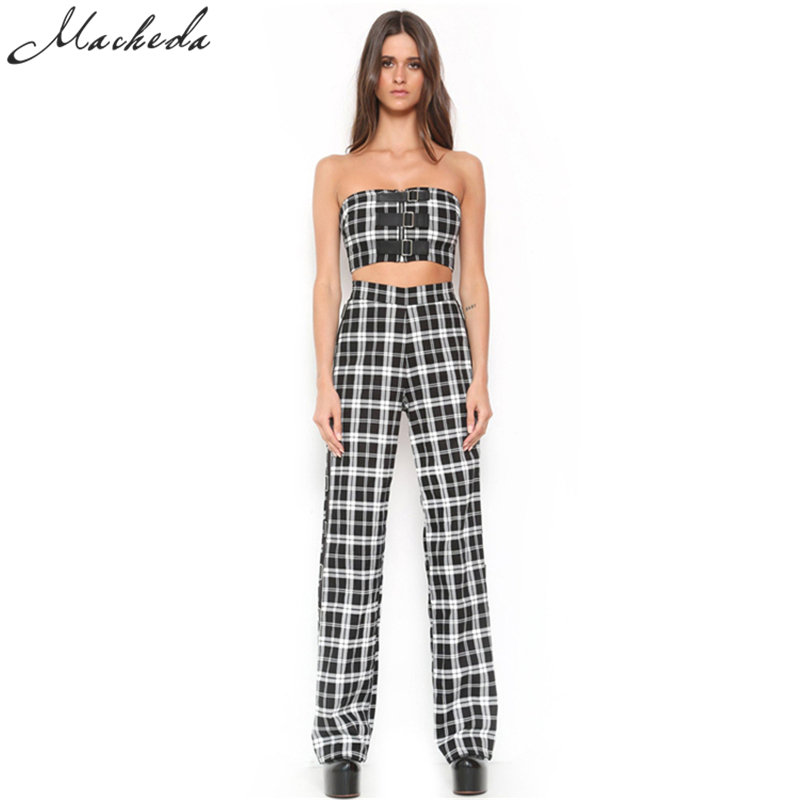 Macheda 2017 New Fashion Two Piece Women Set Plaid Zipper Fly Loose Casual Full Length Pants Plaid Sleevele Tank Tops
