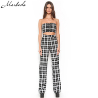 Macheda 2017 New Fashion Two Piece Women Set Plaid Zipper Fly Loose Casual Full Length Pants