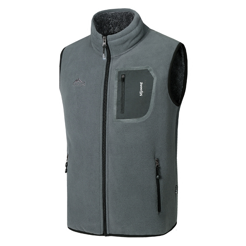 HOO  Fall Of 2019 Men More Leisure Add Wool Warm Vest Fashion Polar Fleece Collar Vest